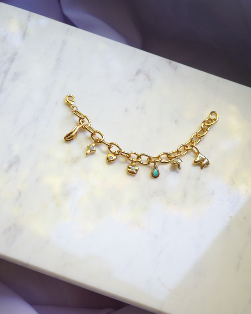 Gold Plated Mystical Charm Bracelet
