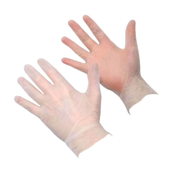 Clear Vinyl Powder Free Disposable Gloves UK-100 pieces Medium - Compas Shopping