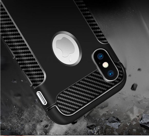 Shockproof Carbon Fibre Protective Case Cover For Apple iPhone; Samsung and Huawei - Compas Shopping