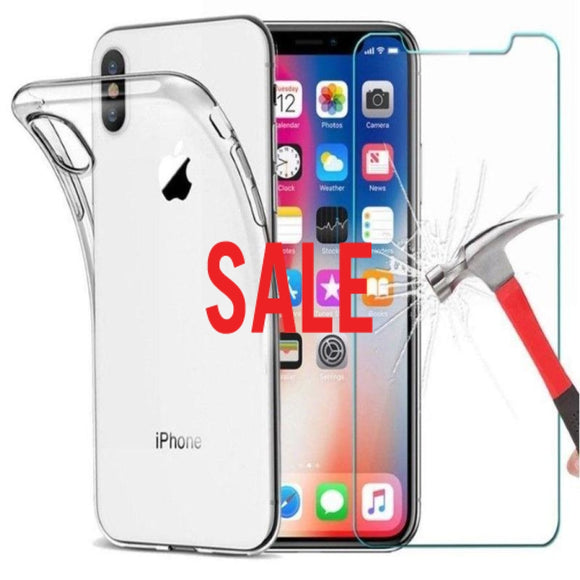 Clear Gel Case & Tempered Glass For iPhone 11/ 11 Pro/ 11 Pro Max/ XS Max/XR/XS/X/8/7/6/6S Plus/5/5S/5C - Compas Shopping