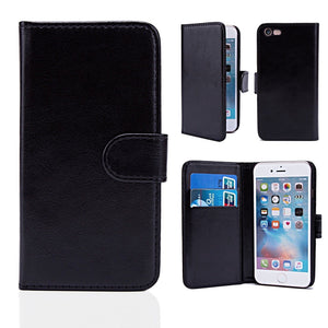 Black PU Leather Flip Wallet Case Kickstand Cover Case For Apple iPhone 11/ 11 Pro/ 11 Pro Max/  XS Max/ XR/ XS/ X/ 8Plus/ 8/ 7Plus/ 7/ 6S Plus/ 6 Plus/ 6S/ 6/ 5S/ 5/ 5C/ 4S/4 - Compas Shopping