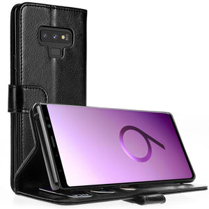 Black PU Leather Flip Wallet Case Kickstand Cover Case For Samsung Phone Models - Compas Shopping