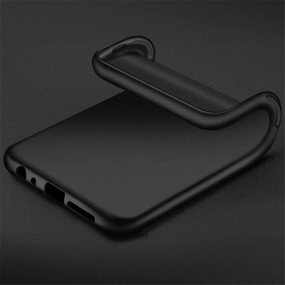 Black Silicone Gel Back Case For iPhone Samsung Huawei Phones - Compas Shopping