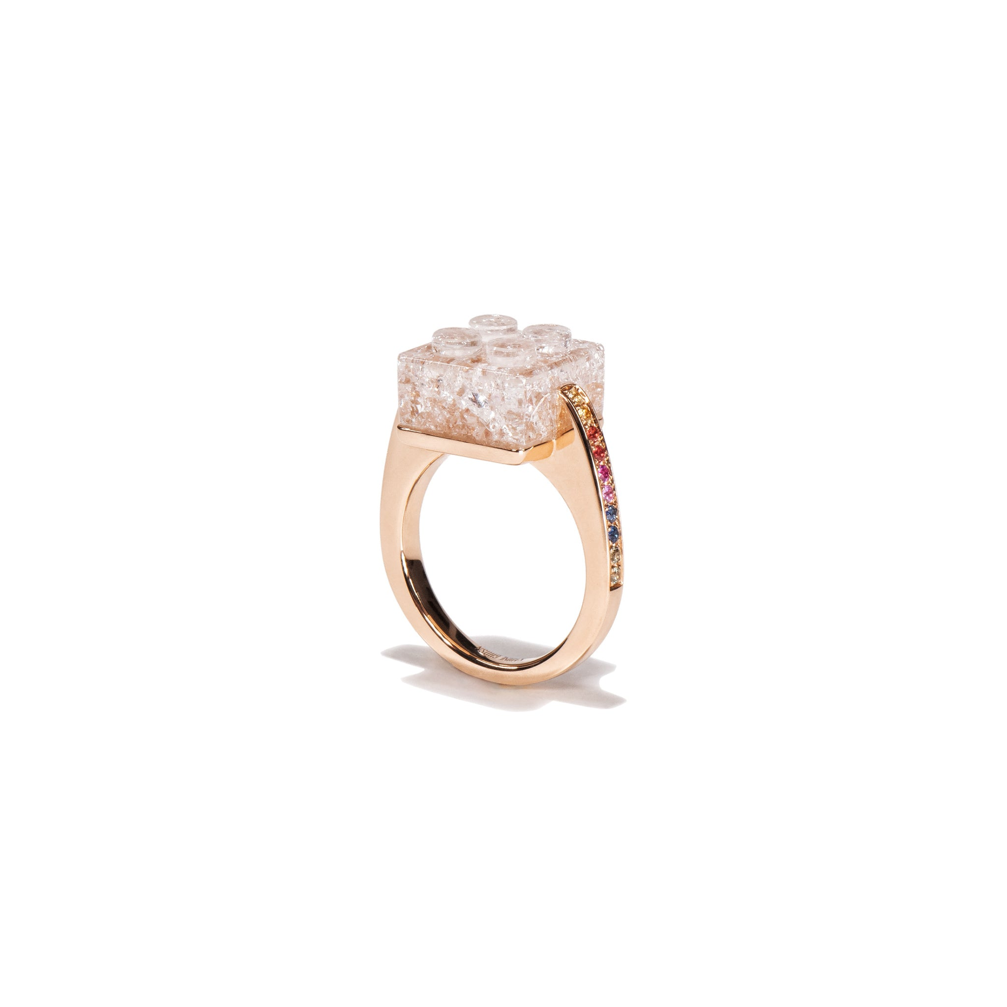 The Bare Block Ring - White Quartz