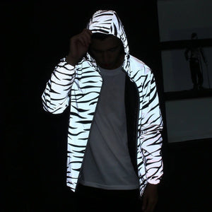 White Leopard Reflective Hooded Jacket