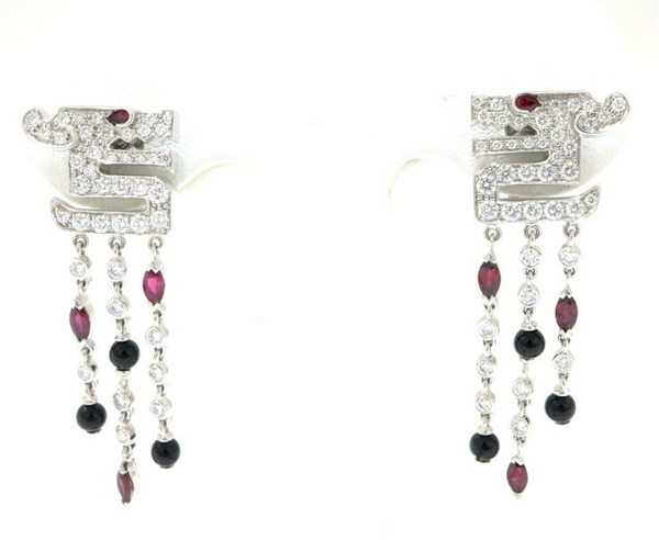 Rare Cartier Du Dragon Diamond Ruby Onyx Dangle Earrings