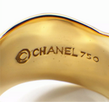 CHANEL Diamond Bolduc 18KT Yellow Fold Ring Size 7