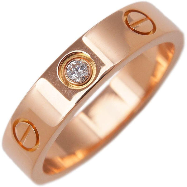 Cartier Mini 1P Diamond Love Ring Rose Gold US 5