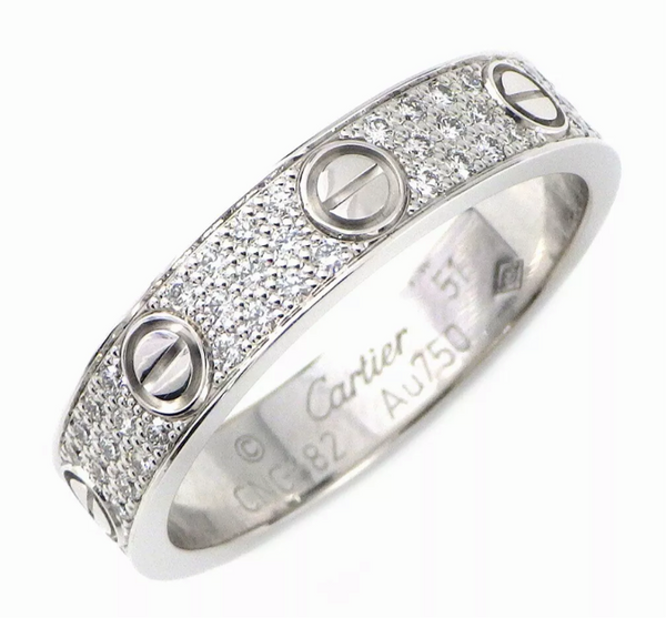 Cartier Diamond Paved Wedding Love Ring 18KT White Gold #51/ 5.5