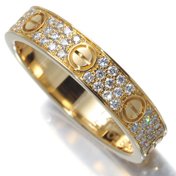 Cartier Diamond Paved 18KT Yellow Gold Wedding Love Ring Size 51/ US 5.5