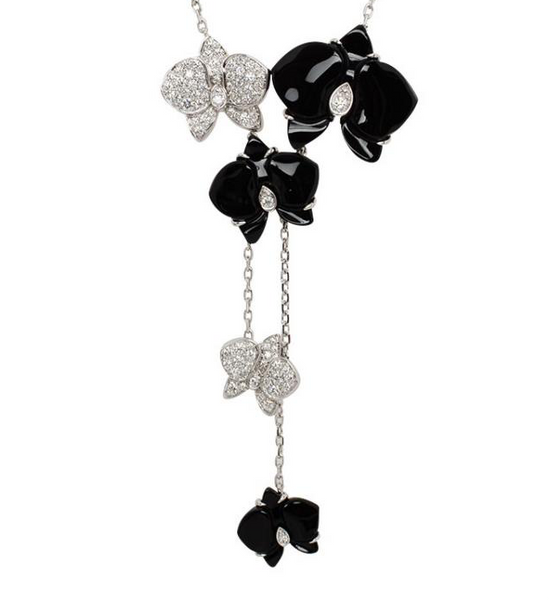 Cartier Caresse de Orchidees Diamond-Paved Black Onyx Necklace
