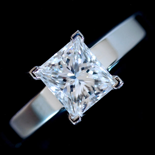 Rare Cartier 1.15ct E VS1 Princess Cut Diamond Engagement/ Wedding Ring