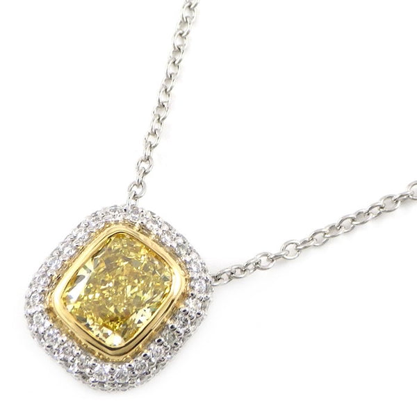 Tiffany Fancy Yellow Diamond .70ct Soleste PT950 18KT Necklace