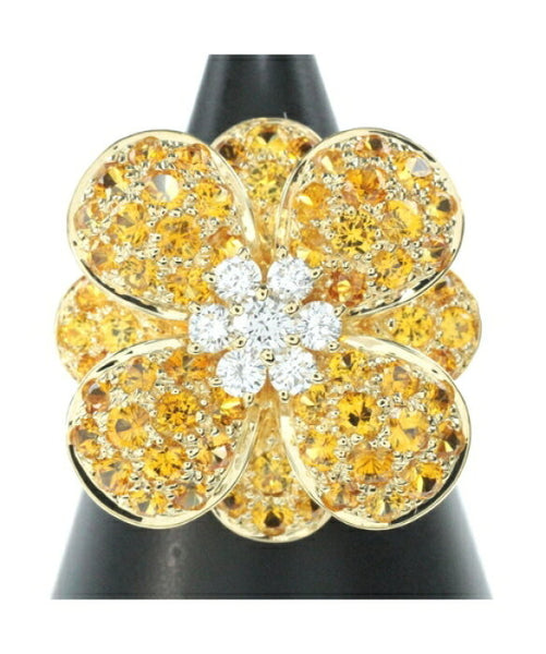 Van Cleef & Arpels Diamond Sapphire Cosmos Flower 18KT Yellow Gold Ring
