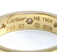Cartier Mini 8P Diamond Love Ring 18KT Gold Sz 5.25