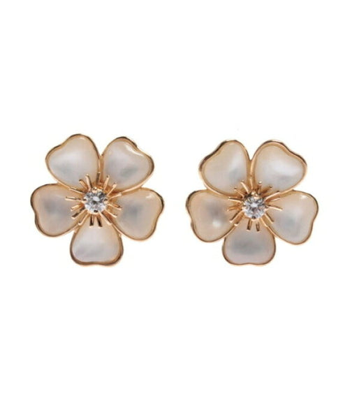 Van Cleef & Arpels Mini Nerval Diamond Mother of Pearl Earrings