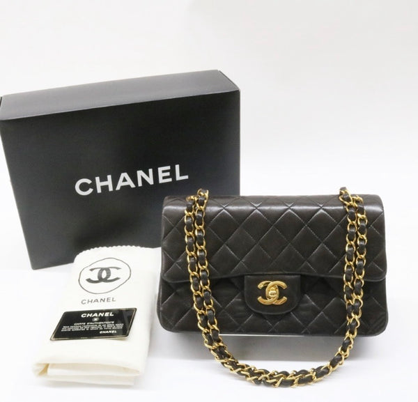 CHANEL Double Flap 23 Gold Hardware Lambskin Shoulder Bag