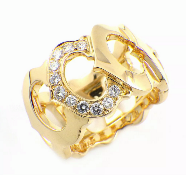 Cartier C de Diamond 18KT Yellow Gold Ring #49/ 4.75