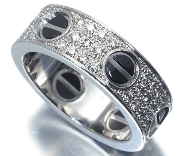 Cartier Diamond Paved Black Ceramic Love Ring #52/ US 6