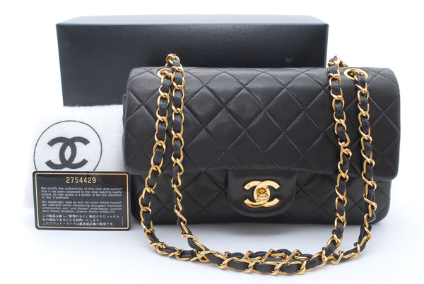 SALE* CHANEL Black Quilted Lambskin Double Flap 23 Handbag