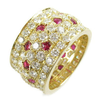 Cartier Nigeria Diamond Paved Ruby 18KT Yellow Gold Ring Size 57