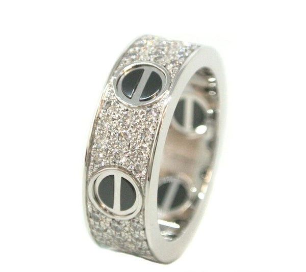 Cartier Diamond Ceramic White Gold Love Ring Size #50/ 5