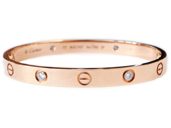 Cartier 4P Half Diamond 18KT Rose Gold #17 Love Bracelet