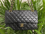 CHANEL Black Quilted Lambskin Double Flap Shoulder Handbag