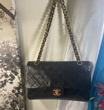 CHANEL Black Lambskin Double Flap 25 GHW Shoulder Handbag