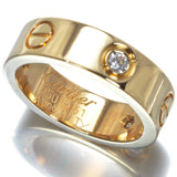 Cartier 3P Half Diamond 18KT Yellow Gold Love Ring #51