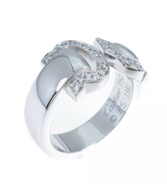 Cartier C de Cartier Logo 2C Diamond Paved Ring #49