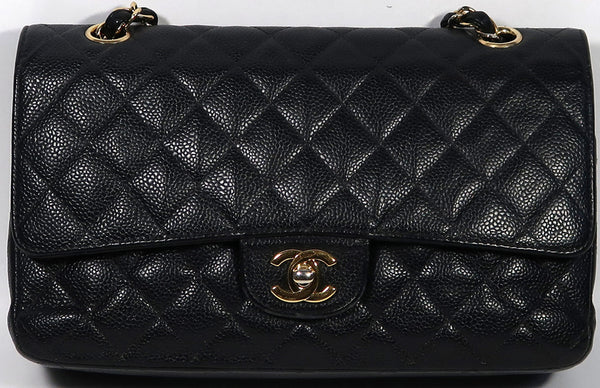 CHANEL Black Caviar Leather Gold Hardware Double Flap Bag