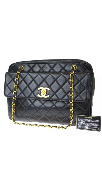 CHANEL Turn Lock Black Lambskin Tote Handbag