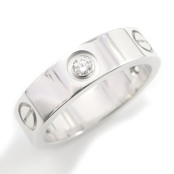 Cartier 3P Half Diamond 18KT White Love Ring Size 57/ 8