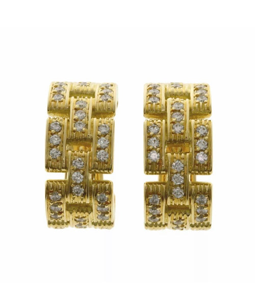 Cartier Maillon Panthere 3 Row Diamond 18KT Yellow Gold Earrings