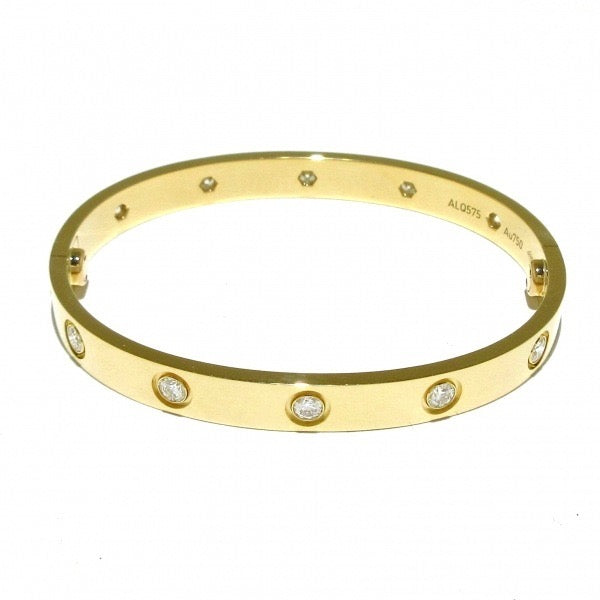 Cartier 10P Full Diamond 18KT Yellow Gold Love Bracelet Size 16