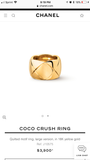 CHANEL CoCo Crush Matelasse 18KT Gold Large Ring Sz 6