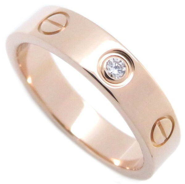 Cartier 1P Diamond 18KT Rose Gold Wedding Love Ring Size 51/ US 5.5