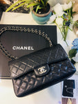 CHANEL Double Flap Caviar Leather Handbag