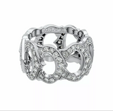 Cartier C de Paved Diamond 18KT White Gold Ring US 7