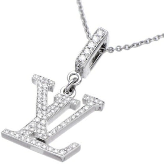 Louis Vuitton Diamond Paved Idylle Blossom LV Logo Necklace