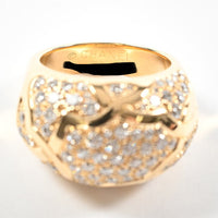 CHANEL Diamond Paved Camelia Domed 18KT Uellow Gold Ring Size  #53/ 6