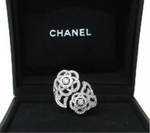 CHANEL Diamond Camelia 18KT White Gold Bypass Ring Size 5.5