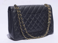 CHANEL Black Caviar Leather Jumbo Gold Hardware Double Flap Handbag