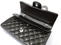CHANEL CC Black Lambskin Double Flap Silver Hrdware Quilted Handbag