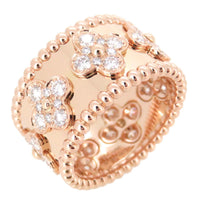 Van Cleef & Arpels VCA Perlee Diamond Large Clover 18KT Rose Gold Ring #55