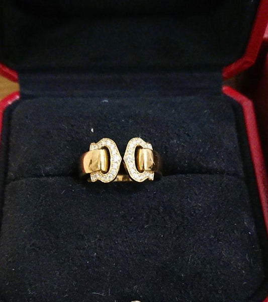 Cartier 2C Diamond Pave 18KT Gold Ring 50