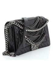 CHANEL Le Boy Chained Back Lambskin Handbag