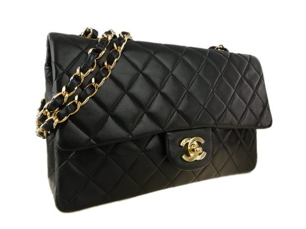 CHANEL Black Lambskin 25 Double Flap Gold Hardware Bag