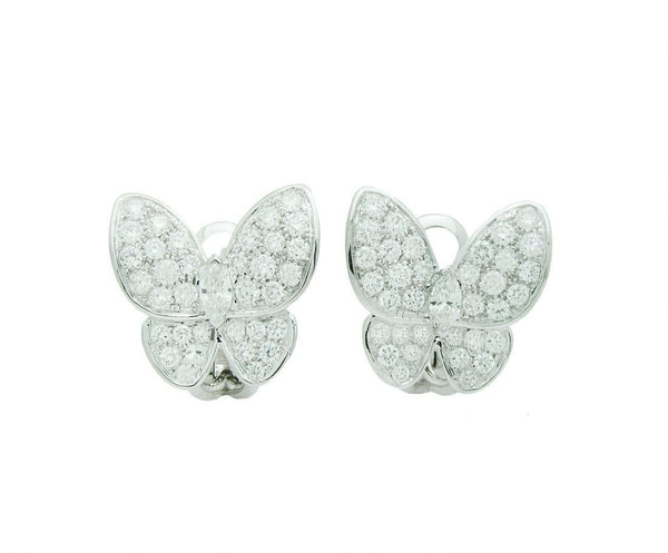 Van Cleef & Arpels Two Butterfly Diamond Paved Earrings VCA